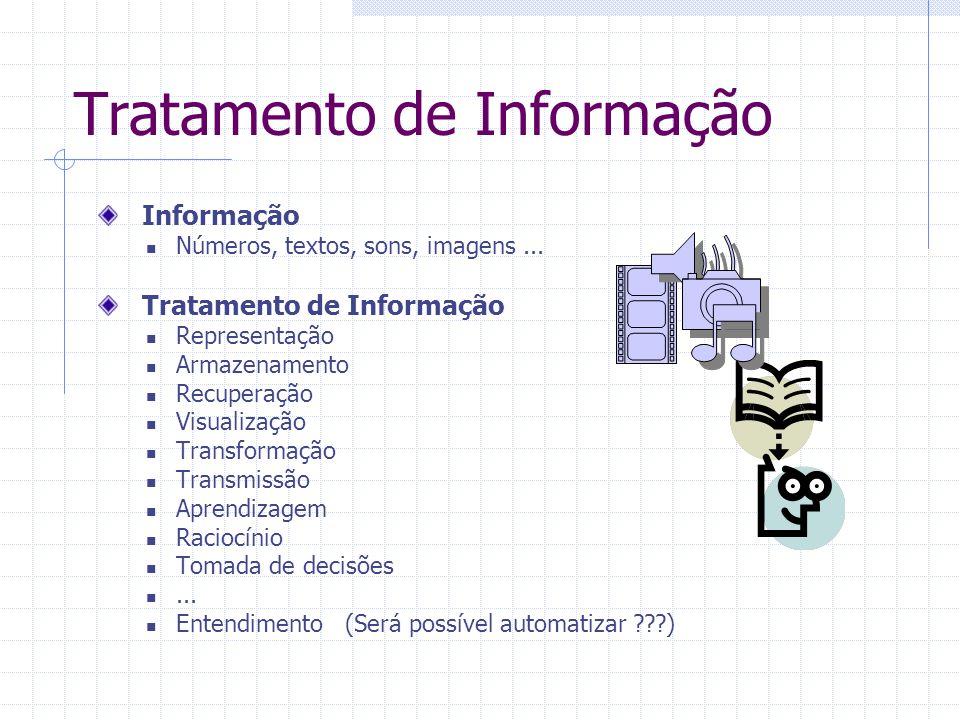 Tratamento de Informação Informação Números, textos, sons, imagens... Tratamento de Informação Representação Armazenamento Recuperação Visualização Tr