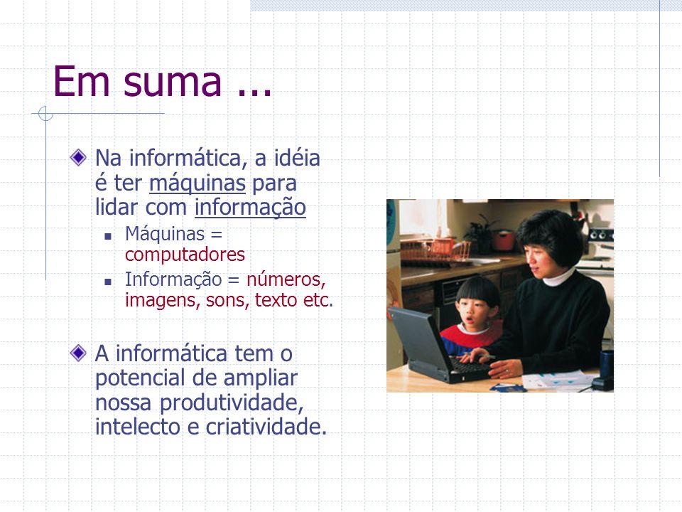 Em suma... Na informática, a idéia é ter máquinas para lidar com informação Máquinas = computadores Informação = números, imagens, sons, texto etc. A