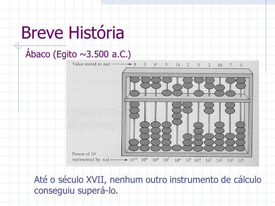Breve História Ábaco (Egito ~3.500 a.C.) Até o século XVII, nenhum outro instrumento de cálculo conseguiu superá-lo.