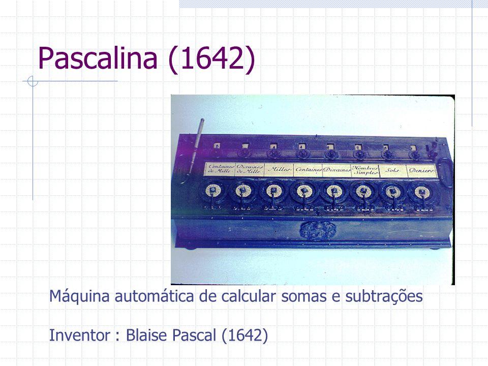 Pascalina (1642) Máquina automática de calcular somas e subtrações Inventor : Blaise Pascal (1642)
