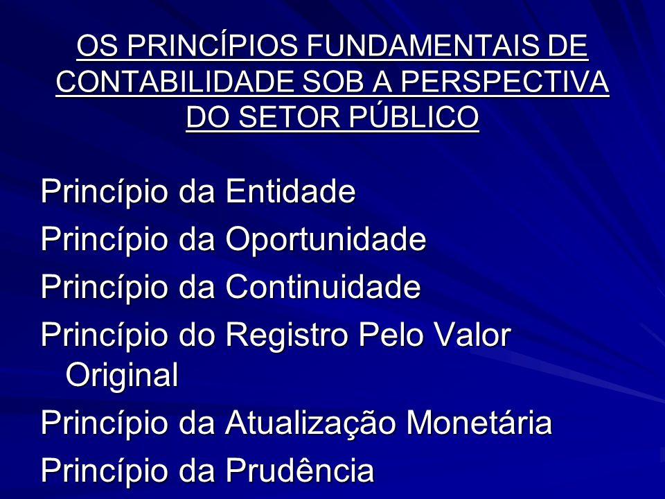 OS PRINCÍPIOS FUNDAMENTAIS DE CONTABILIDADE SOB A PERSPECTIVA DO SETOR PÚBLICO Princípio da Entidade Princípio da Oportunidade Princípio da Continuida