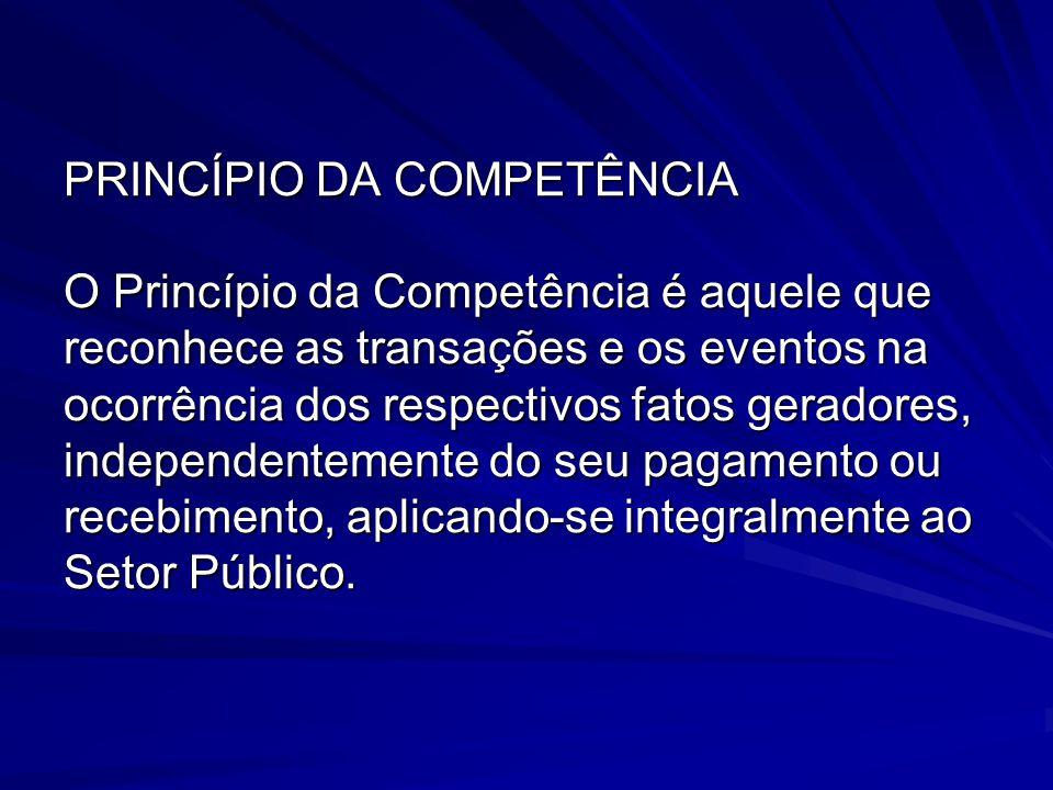 PRINCÍPIO DA COMPETÊNCIA O Princípio da Competência é aquele que reconhece as transações e os eventos na ocorrência dos respectivos fatos geradores, i