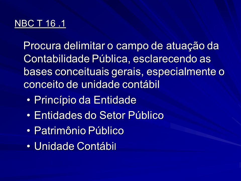 NBC T 16.1 Procura delimitar o campo de atuação da Contabilidade Pública, esclarecendo as bases conceituais gerais, especialmente o conceito de unidad