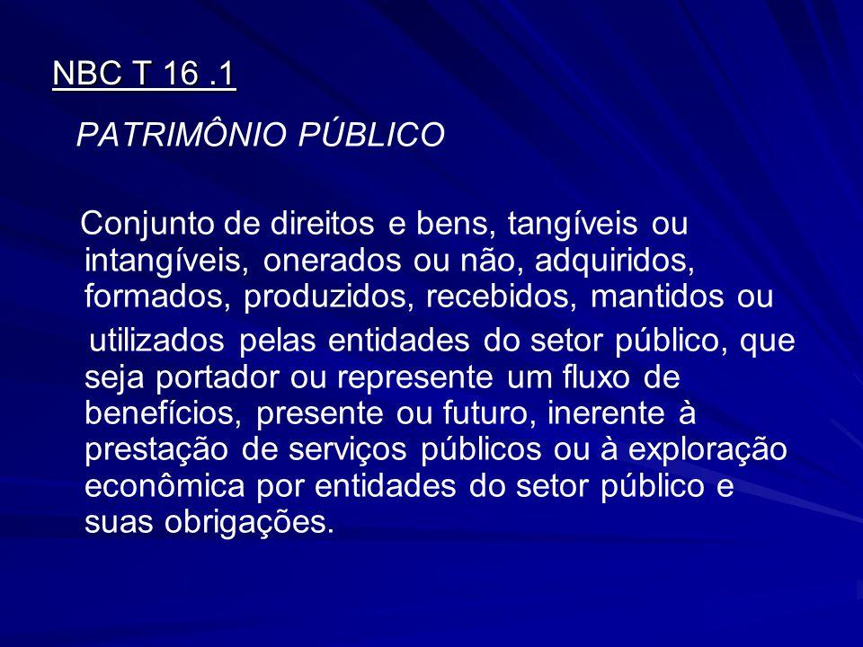 NBC T 16.1 PATRIMÔNIO PÚBLICO Conjunto de direitos e bens, tangíveis ou intangíveis, onerados ou não, adquiridos, formados, produzidos, recebidos, man