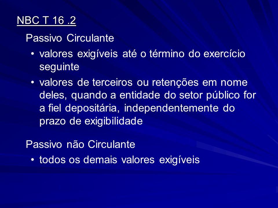 NBC T 16.2 Passivo Circulante valores exigíveis até o término do exercício seguinte valores de terceiros ou retenções em nome deles, quando a entidade