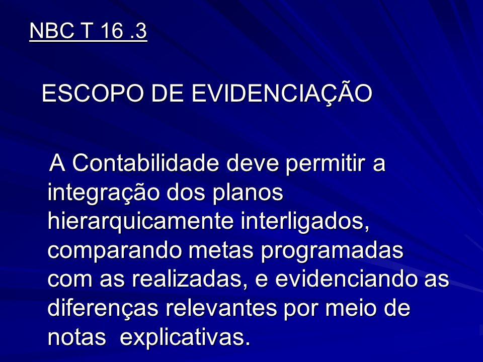 NBC T 16.3 ESCOPO DE EVIDENCIAÇÃO ESCOPO DE EVIDENCIAÇÃO A Contabilidade deve permitir a integração dos planos hierarquicamente interligados, comparan