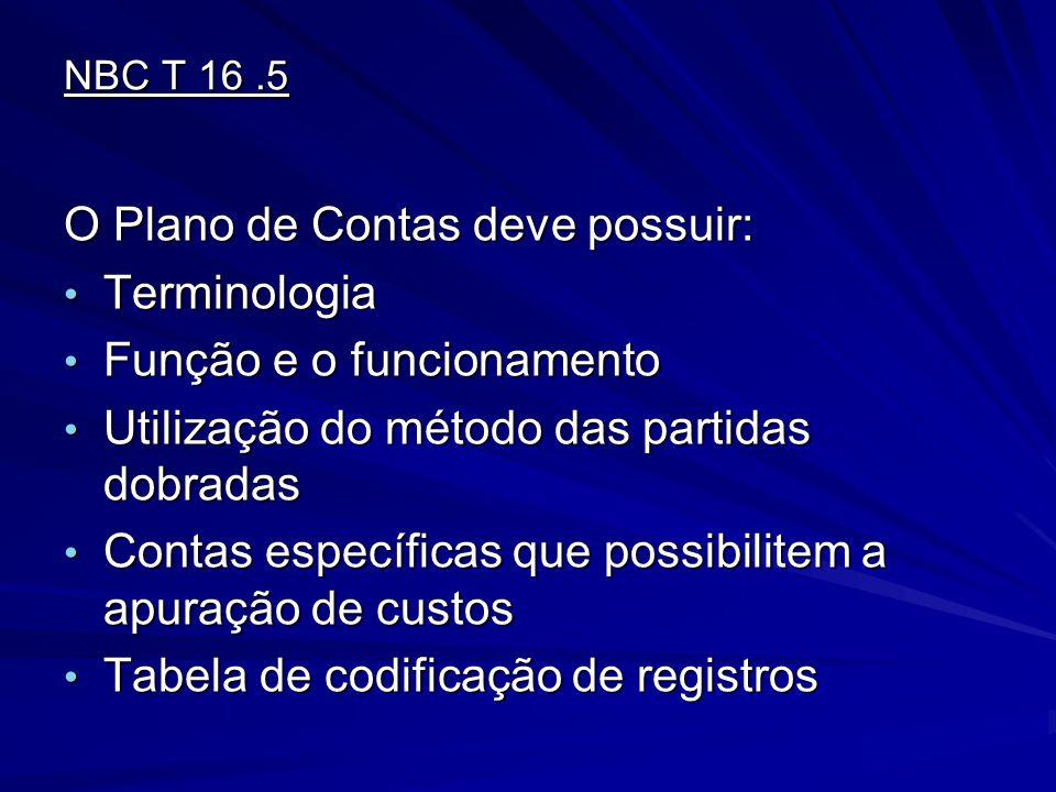 NBC T 16.5 O Plano de Contas deve possuir: Terminologia Terminologia Função e o funcionamento Função e o funcionamento Utilização do método das partid