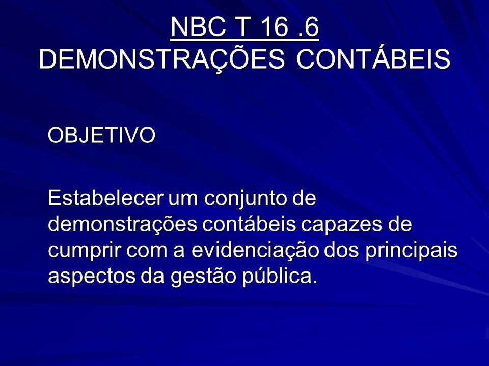 NBC T 16.6 DEMONSTRAÇÕES CONTÁBEIS OBJETIVO OBJETIVO Estabelecer um conjunto de demonstrações contábeis capazes de cumprir com a evidenciação dos prin