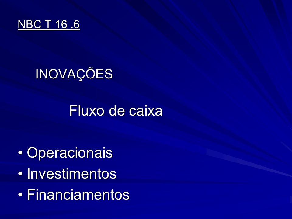 NBC T 16.6 INOVAÇÕES INOVAÇÕES Fluxo de caixa Fluxo de caixa OperacionaisOperacionais InvestimentosInvestimentos FinanciamentosFinanciamentos