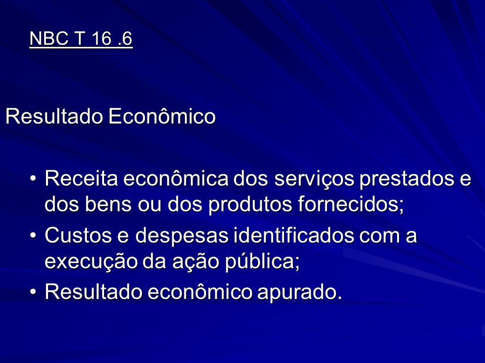 NBC T 16.6 Resultado Econômico Resultado Econômico Receita econômica dos serviços prestados e dos bens ou dos produtos fornecidos;Receita econômica do