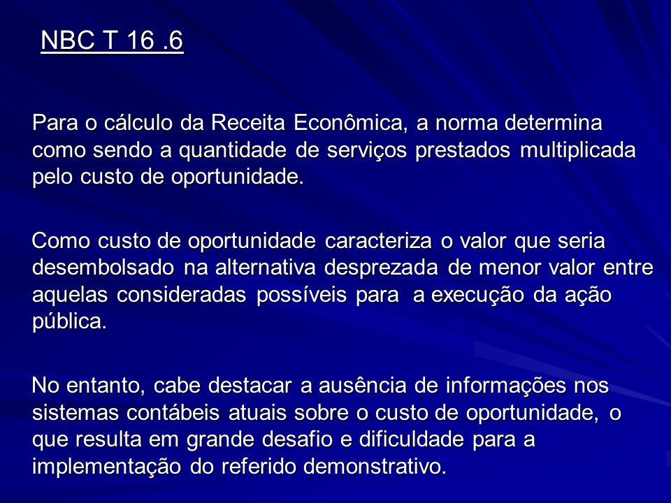 NBC T 16.6 Para o cálculo da Receita Econômica, a norma determina como sendo a quantidade de serviços prestados multiplicada pelo custo de oportunidad