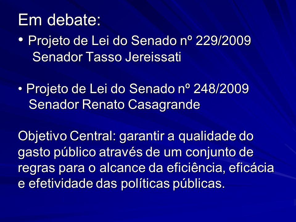 Em debate: Projeto de Lei do Senado nº 229/2009 Senador Tasso Jereissati Projeto de Lei do Senado nº 248/2009 Senador Renato Casagrande Objetivo Centr