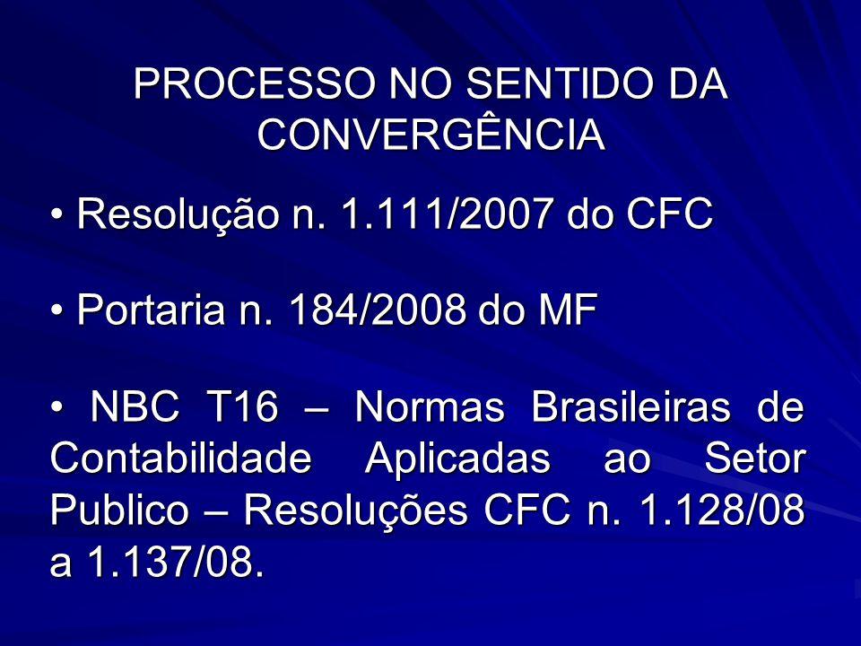PROCESSO NO SENTIDO DA CONVERGÊNCIA Resolução n. 1.111/2007 do CFC Resolução n. 1.111/2007 do CFC Portaria n. 184/2008 do MF Portaria n. 184/2008 do M