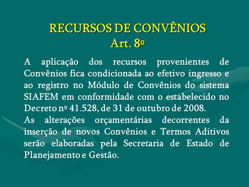 RECURSOS DE CONVÊNIOS Art. 8º A aplicação dos recursos provenientes de Convênios fica condicionada ao efetivo ingresso e ao registro no Módulo de Conv