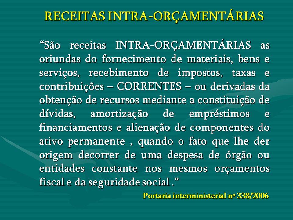 """RECEITAS INTRA-ORÇAMENTÁRIAS RECEITAS INTRA-ORÇAMENTÁRIAS """"São receitas INTRA-ORÇAMENTÁRIAS as oriundas do fornecimento de materiais, bens e serviços,"""