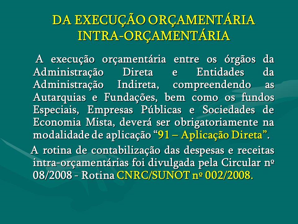 DA EXECUÇÃO ORÇAMENTÁRIA INTRA-ORÇAMENTÁRIA A execução orçamentária entre os órgãos da Administração Direta e Entidades da Administração Indireta, com