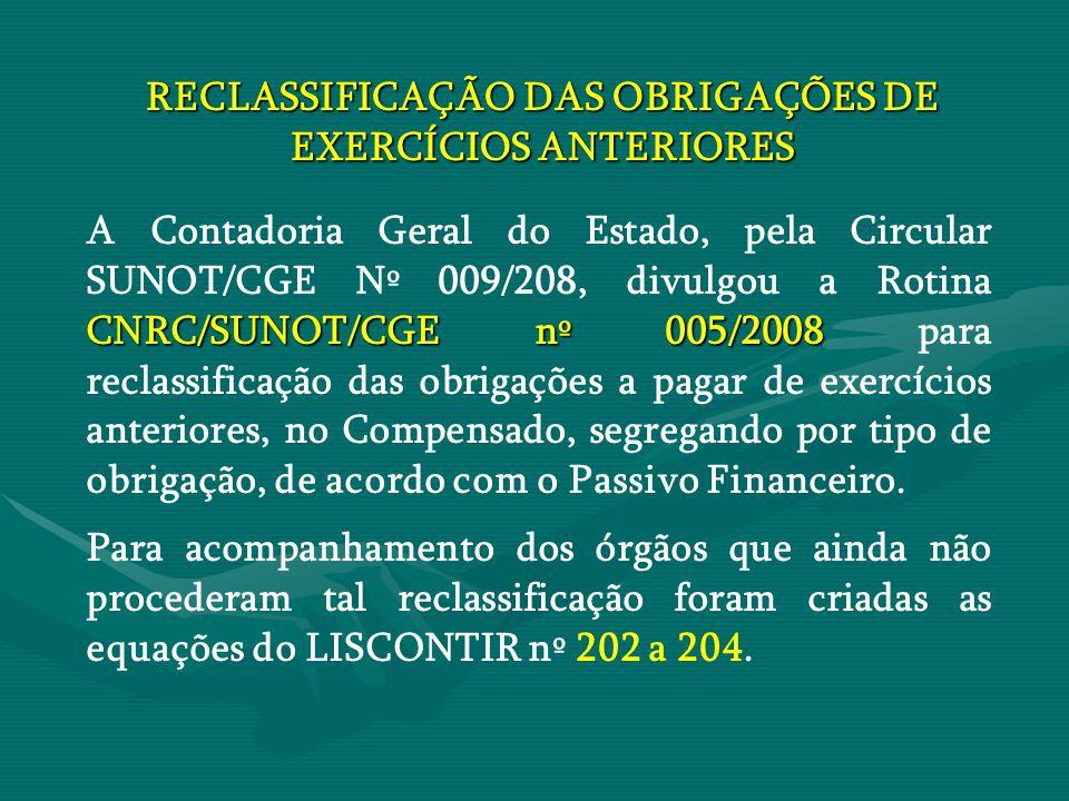 RECLASSIFICAÇÃO DAS OBRIGAÇÕES DE EXERCÍCIOS ANTERIORES CNRC/SUNOT/CGE nº 005/2008 A Contadoria Geral do Estado, pela Circular SUNOT/CGE Nº 009/208, d