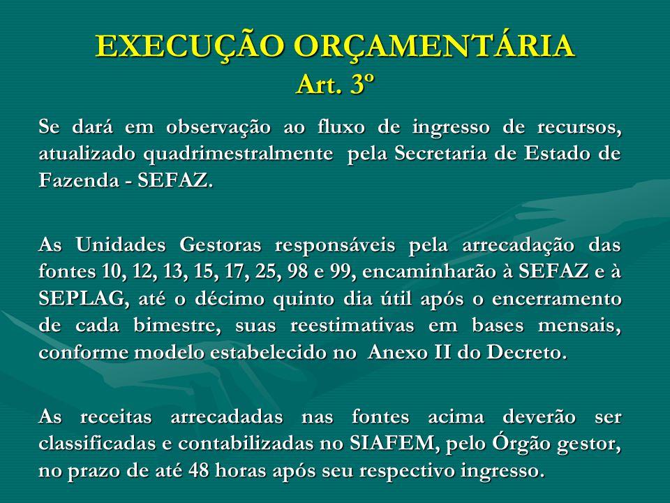 EXECUÇÃO ORÇAMENTÁRIA Art. 3º Se dará em observação ao fluxo de ingresso de recursos, atualizado quadrimestralmente pela Secretaria de Estado de Fazen