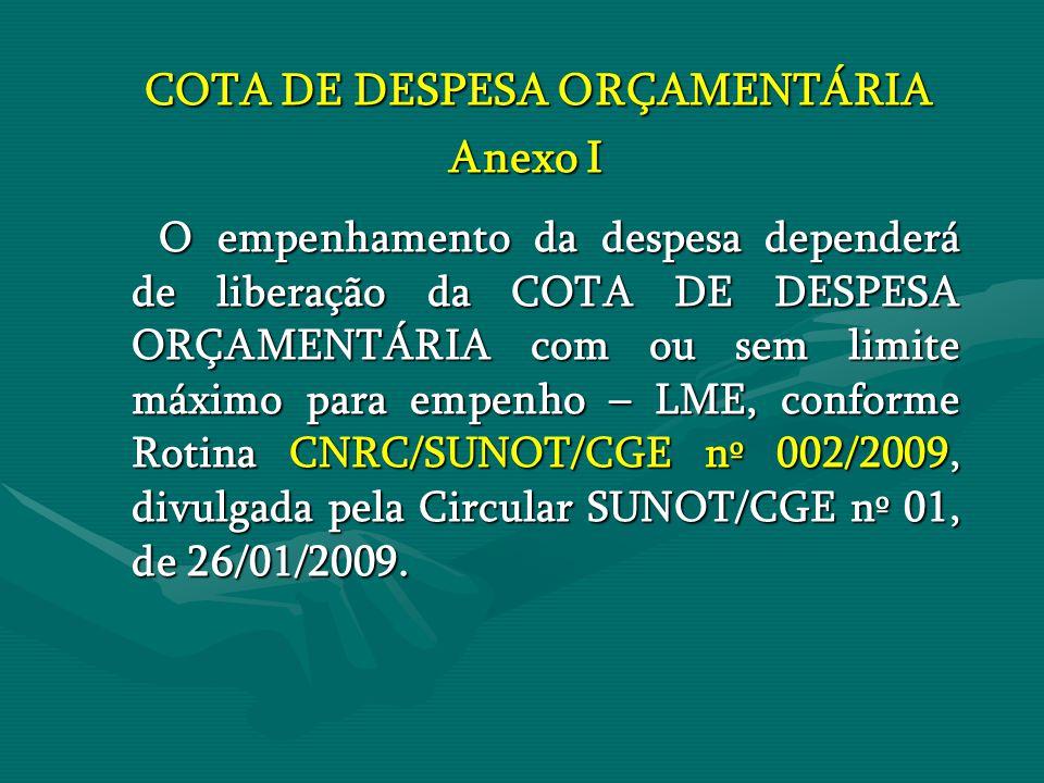 COTA DE DESPESA ORÇAMENTÁRIA COTA DE DESPESA ORÇAMENTÁRIA Anexo I O empenhamento da despesa dependerá de liberação da COTA DE DESPESA ORÇAMENTÁRIA com