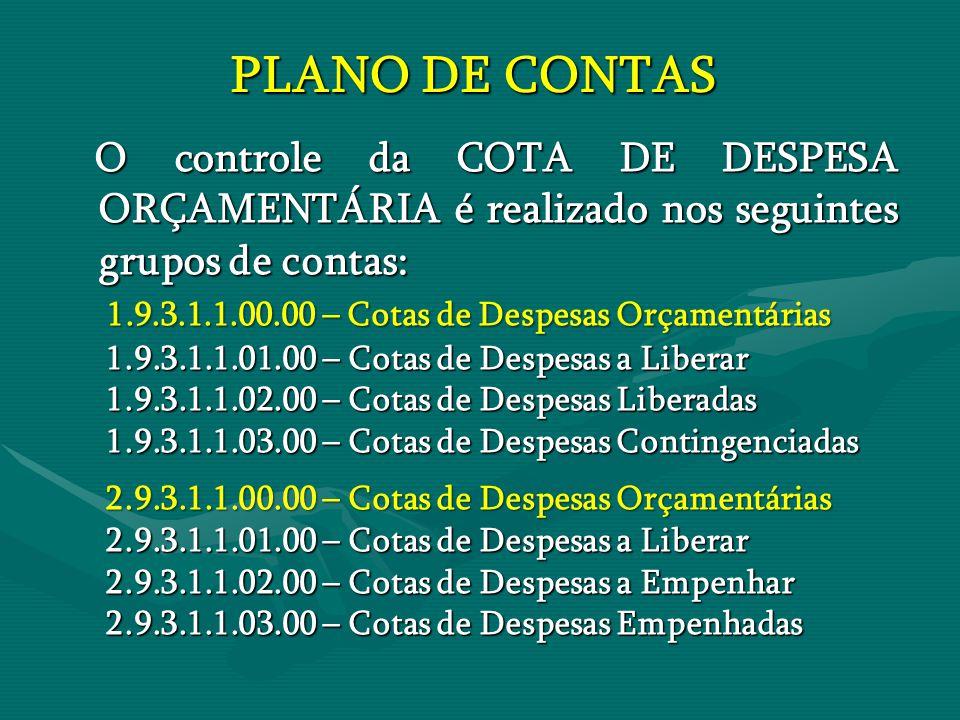 PLANO DE CONTAS PLANO DE CONTAS O controle da COTA DE DESPESA ORÇAMENTÁRIA é realizado nos seguintes grupos de contas: O controle da COTA DE DESPESA O