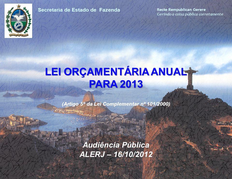 LEI ORÇAMENTÁRIA ANUAL PARA 2013 LEI ORÇAMENTÁRIA ANUAL PARA 2013 (Artigo 5º da Lei Complementar nº 101/2000) Secretaria de Estado de Fazenda Recte Re