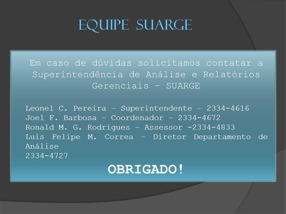 Em caso de dúvidas solicitamos contatar a Superintendência de Análise e Relatórios Gerenciais – SUARGE Leonel C.