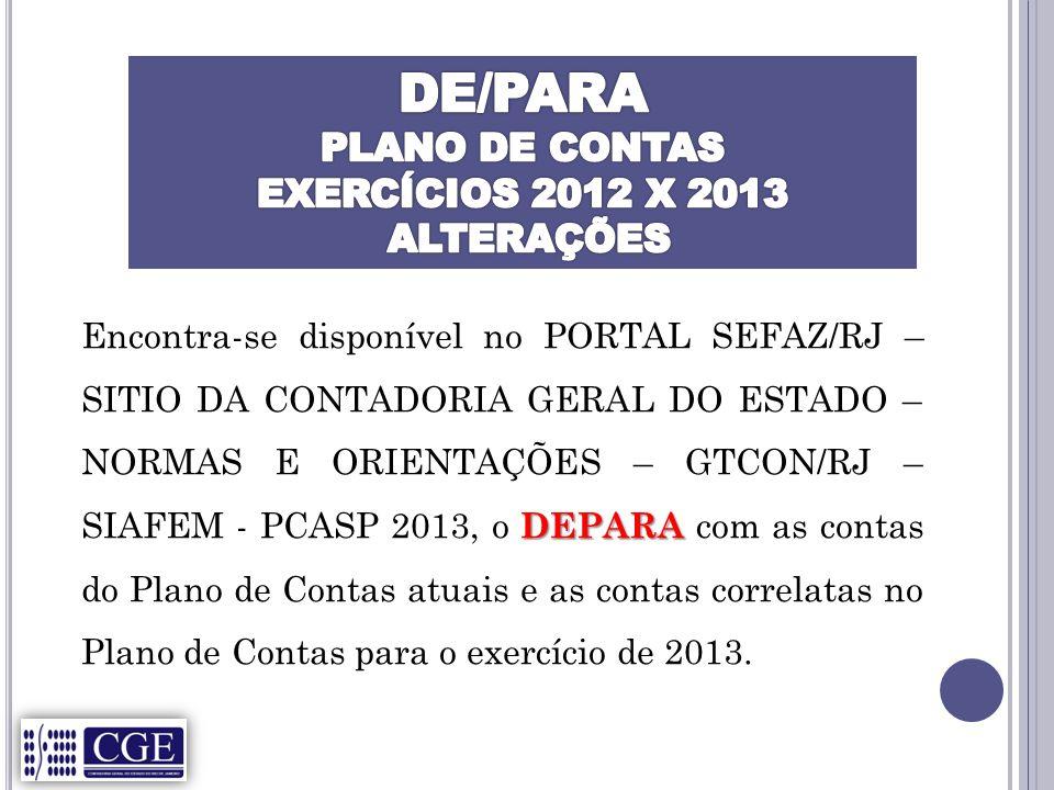 DEPARA Encontra-se disponível no PORTAL SEFAZ/RJ – SITIO DA CONTADORIA GERAL DO ESTADO – NORMAS E ORIENTAÇÕES – GTCON/RJ – SIAFEM - PCASP 2013, o DEPARA com as contas do Plano de Contas atuais e as contas correlatas no Plano de Contas para o exercício de 2013.