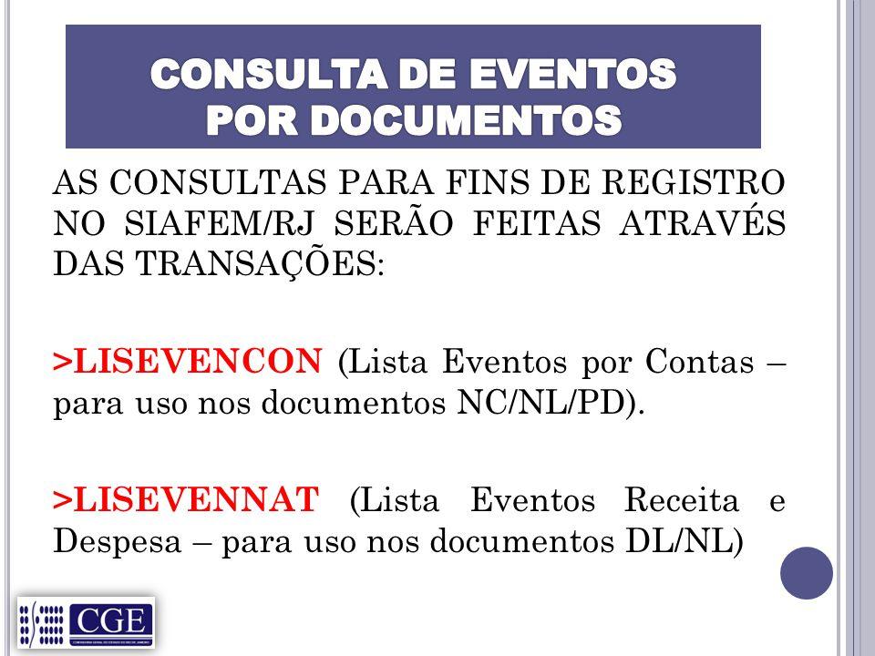 AS CONSULTAS PARA FINS DE REGISTRO NO SIAFEM/RJ SERÃO FEITAS ATRAVÉS DAS TRANSAÇÕES: >LISEVENCON (Lista Eventos por Contas – para uso nos documentos NC/NL/PD).