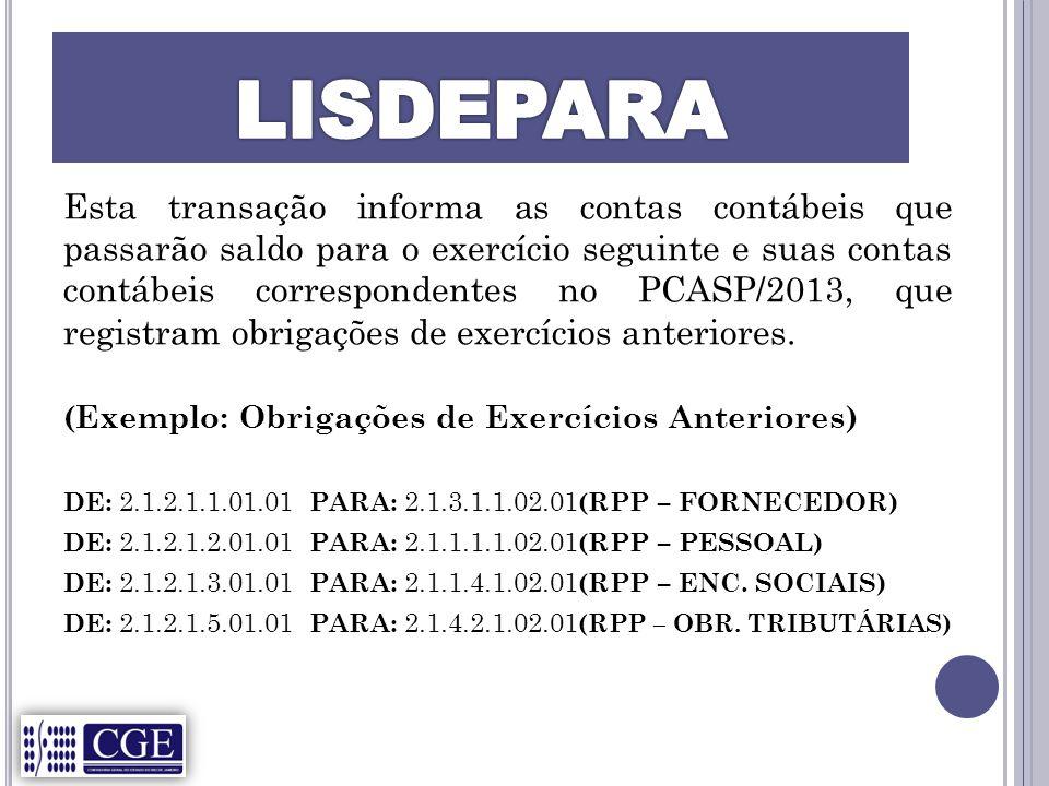 Esta transação informa as contas contábeis que passarão saldo para o exercício seguinte e suas contas contábeis correspondentes no PCASP/2013, que registram obrigações de exercícios anteriores.