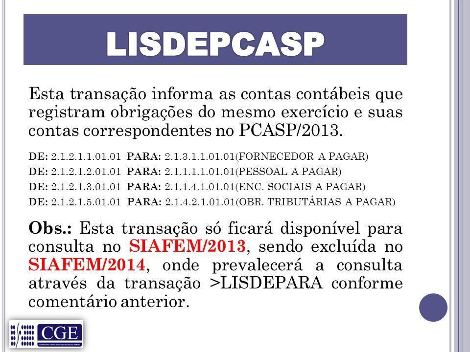 Esta transação informa as contas contábeis que registram obrigações do mesmo exercício e suas contas correspondentes no PCASP/2013.