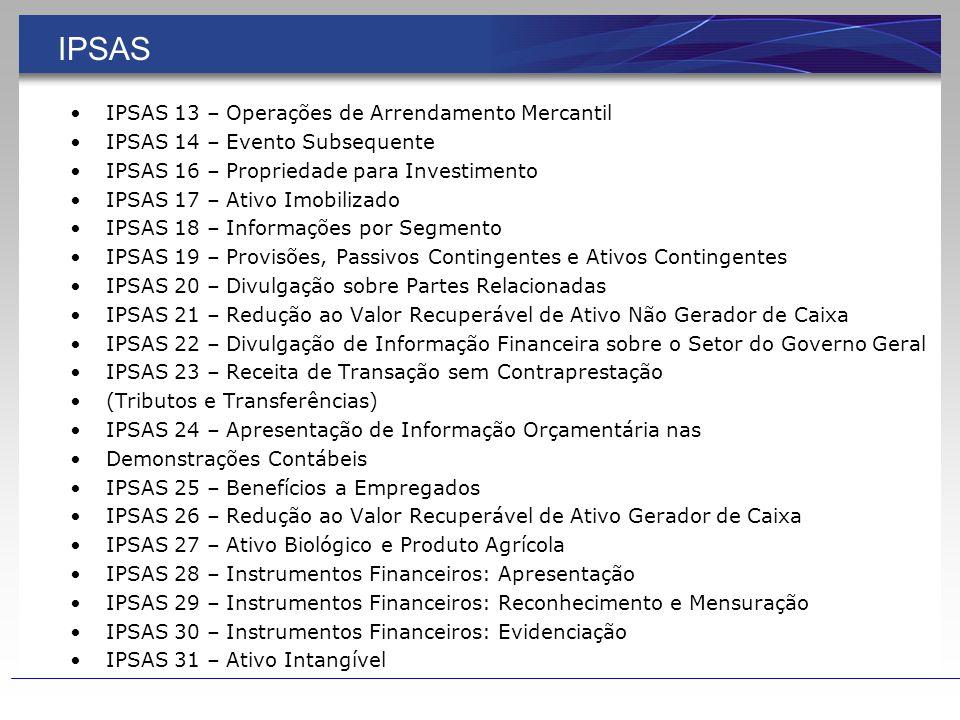 IPSAS IPSAS 1 – Apresentação das Demonstrações Contábeis IPSAS 2 – Demonstração dos Fluxos de Caixa IPSAS 3 – Políticas Contábeis, Mudança de Estimativa e Retificação de Erro IPSAS 4 – Efeitos das Mudanças nas Taxas de Câmbio e Conversão de Demonstrações Contábeis IPSAS 5 – Custos de Empréstimos IPSAS 6 – Demonstrações Consolidadas e Separadas IPSAS 7 – Investimento em Coligada e em Controlada IPSAS 8 – Investimento em Empreendimento Controlado em Conjunto (Joint Venture) IPSAS 9 – Receita de Transação com Contraprestação IPSAS 10 – Contabilidade e Evidenciação em Economia Altamente Inflacionária IPSAS 11 – Contratos de Construção IPSAS 12 – Estoques