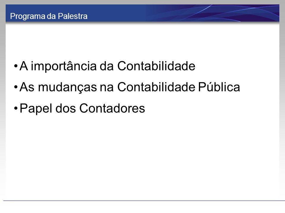 A importância da Contabilidade As mudanças na Contabilidade Pública Papel dos Contadores Programa da Palestra