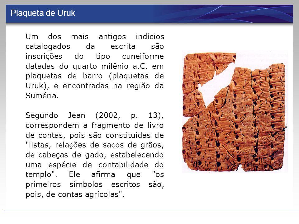Plaqueta de Uruk Um dos mais antigos indícios catalogados da escrita são inscrições do tipo cuneiforme datadas do quarto milênio a.C.