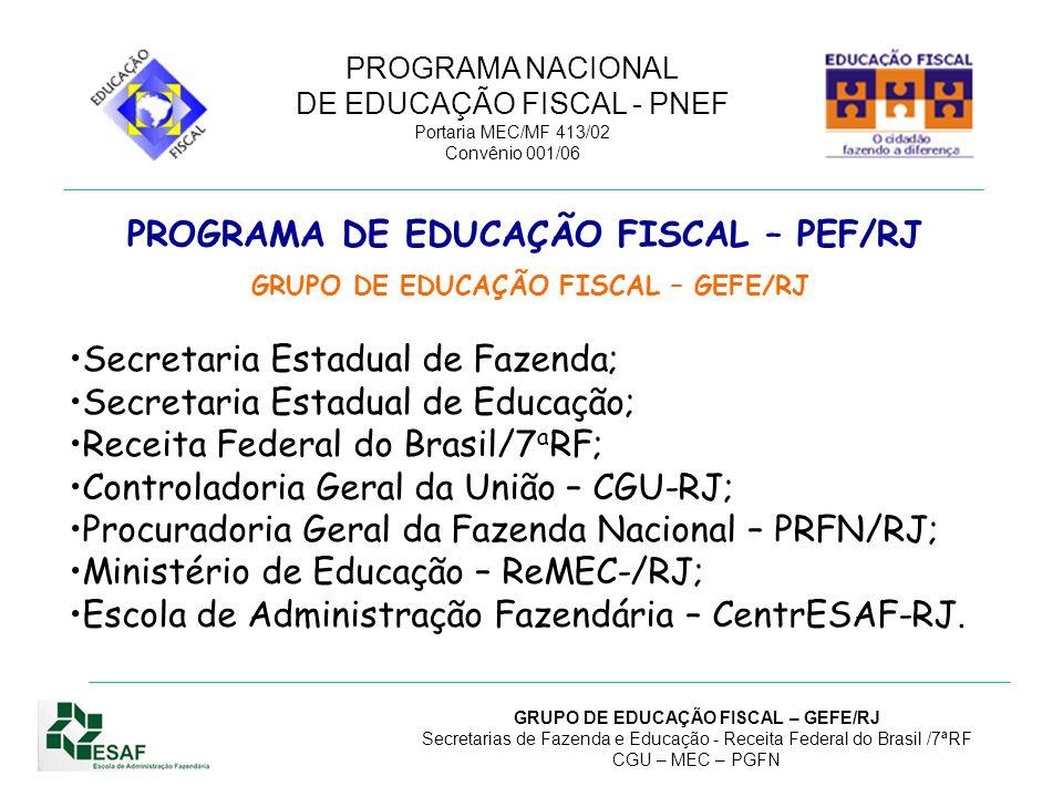 PROGRAMA NACIONAL DE EDUCAÇÃO FISCAL - PNEF Portaria MEC/MF 413/02 Convênio 001/06 GRUPO DE EDUCAÇÃO FISCAL – GEFE/RJ Secretarias de Fazenda e Educação - Receita Federal do Brasil /7ªRF CGU – MEC – PGFN ORGANIZAÇÃO E GESTÃO Decreto n º 26.023, de 25/02/2000, institui o Programa de Educa ç ão Fiscal - PEF/RJ; Resolu ç ão Conjunta SEE/SEFCON n.