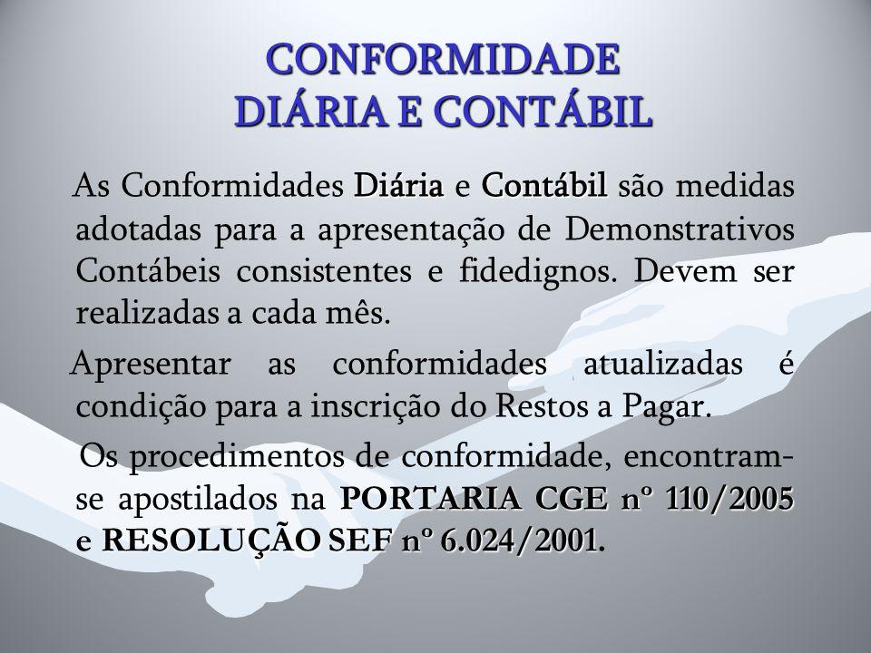 CONFORMIDADE DIÁRIA E CONTÁBIL DiáriaContábil As Conformidades Diária e Contábil são medidas adotadas para a apresentação de Demonstrativos Contábeis