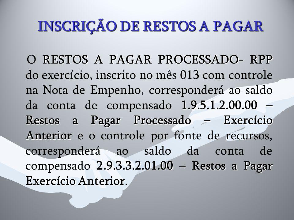 INSCRIÇÃO DE RESTOS A PAGAR RESTOS A PAGAR PROCESSADO- RPP 1.9.5.1.2.00.00 – Restos a Pagar Processado – Exercício Anterior 2.9.3.3.2.01.00 – Restos a