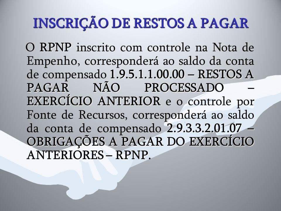 INSCRIÇÃO DE RESTOS A PAGAR RPNP 1.9.5.1.1.00.00 – RESTOS A PAGAR NÃO PROCESSADO – EXERCÍCIO ANTERIOR 2.9.3.3.2.01.07 – OBRIGAÇÕES A PAGAR DO EXERCÍCI