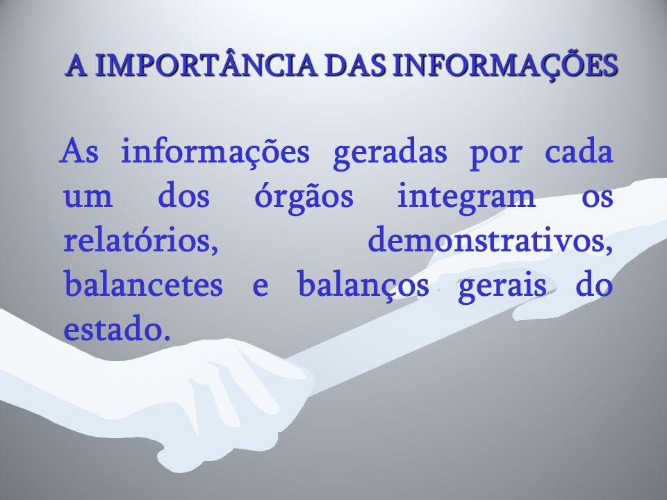 A IMPORTÂNCIA DAS INFORMAÇÕES As informações geradas por cada um dos órgãos integram os relatórios, demonstrativos, balancetes e balanços gerais do es