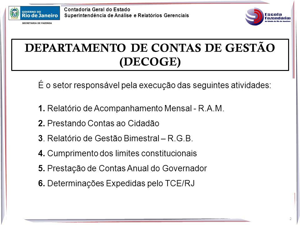 33 Contadoria Geral do Estado Superintendência de Análise e Relatórios Gerenciais