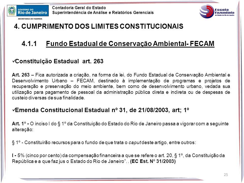 25 4.CUMPRIMENTO DOS LIMITES CONSTITUCIONAIS Constituição Estadual art.