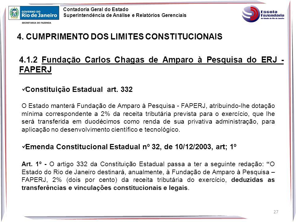 4.1.2 Fundação Carlos Chagas de Amparo à Pesquisa do ERJ - FAPERJ Constituição Estadual art.