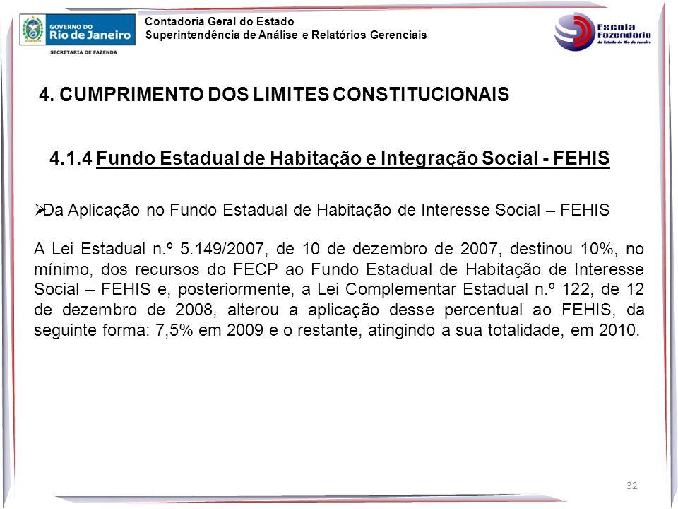  Da Aplicação no Fundo Estadual de Habitação de Interesse Social – FEHIS A Lei Estadual n.º 5.149/2007, de 10 de dezembro de 2007, destinou 10%, no mínimo, dos recursos do FECP ao Fundo Estadual de Habitação de Interesse Social – FEHIS e, posteriormente, a Lei Complementar Estadual n.º 122, de 12 de dezembro de 2008, alterou a aplicação desse percentual ao FEHIS, da seguinte forma: 7,5% em 2009 e o restante, atingindo a sua totalidade, em 2010.