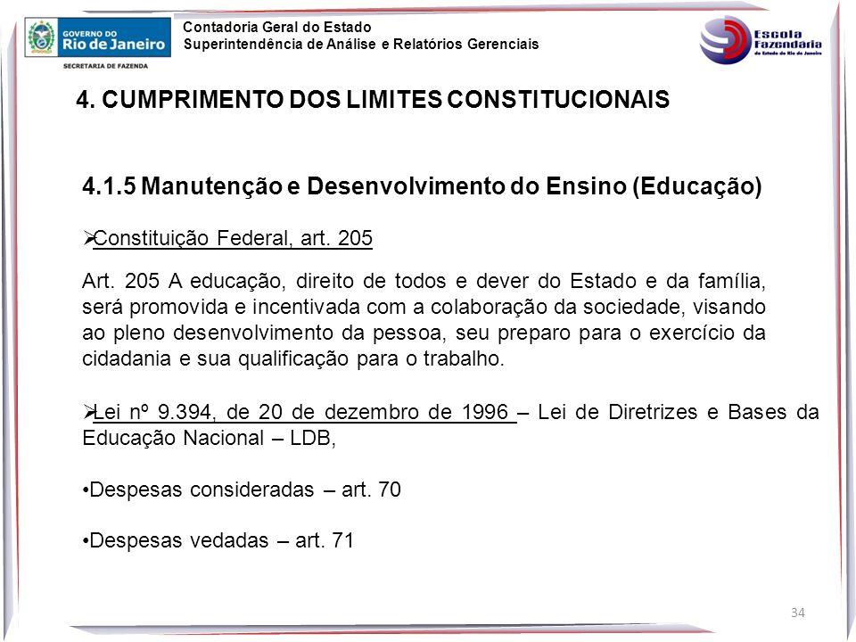 4.1.5 Manutenção e Desenvolvimento do Ensino (Educação)  Constituição Federal, art.