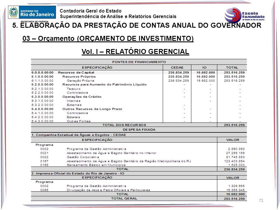 71 5.ELABORAÇÃO DA PRESTAÇÃO DE CONTAS ANUAL DO GOVERNADOR Vol.