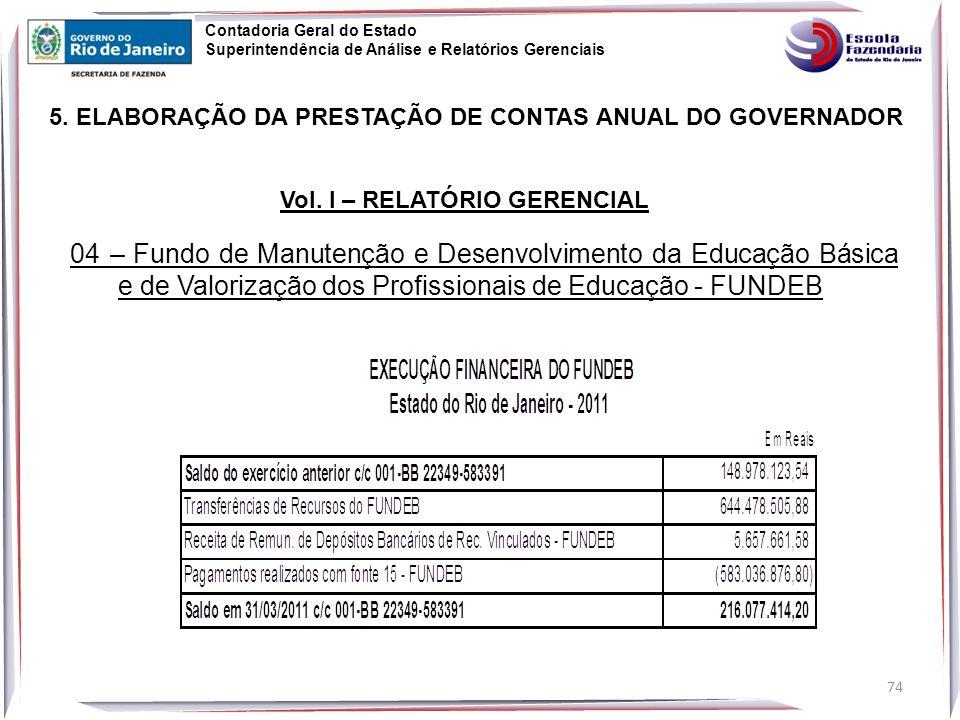 74 5.ELABORAÇÃO DA PRESTAÇÃO DE CONTAS ANUAL DO GOVERNADOR Vol.