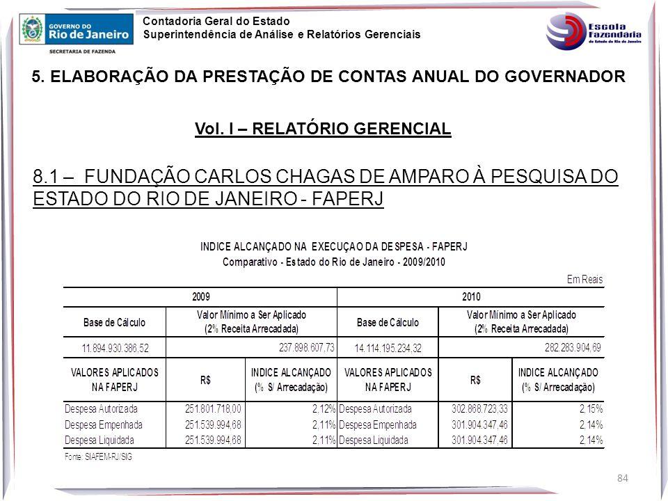 84 5.ELABORAÇÃO DA PRESTAÇÃO DE CONTAS ANUAL DO GOVERNADOR Vol.