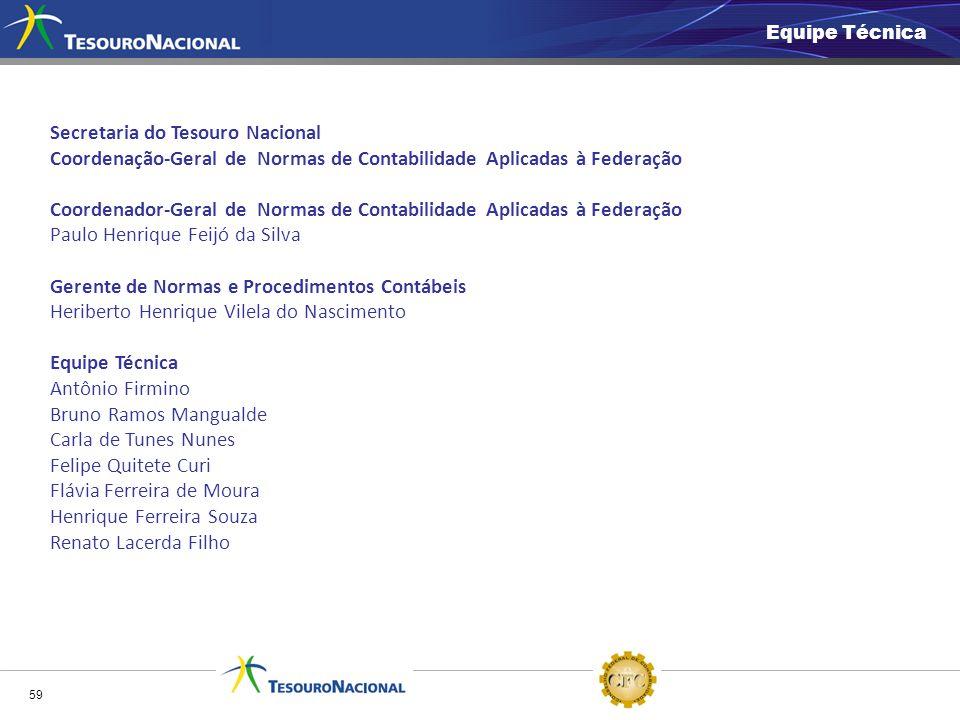 59 Equipe Técnica Secretaria do Tesouro Nacional Coordenação-Geral de Normas de Contabilidade Aplicadas à Federação Coordenador-Geral de Normas de Con