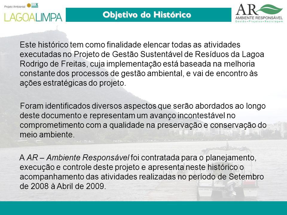 Pag. 3 Este histórico tem como finalidade elencar todas as atividades executadas no Projeto de Gestão Sustentável de Resíduos da Lagoa Rodrigo de Frei