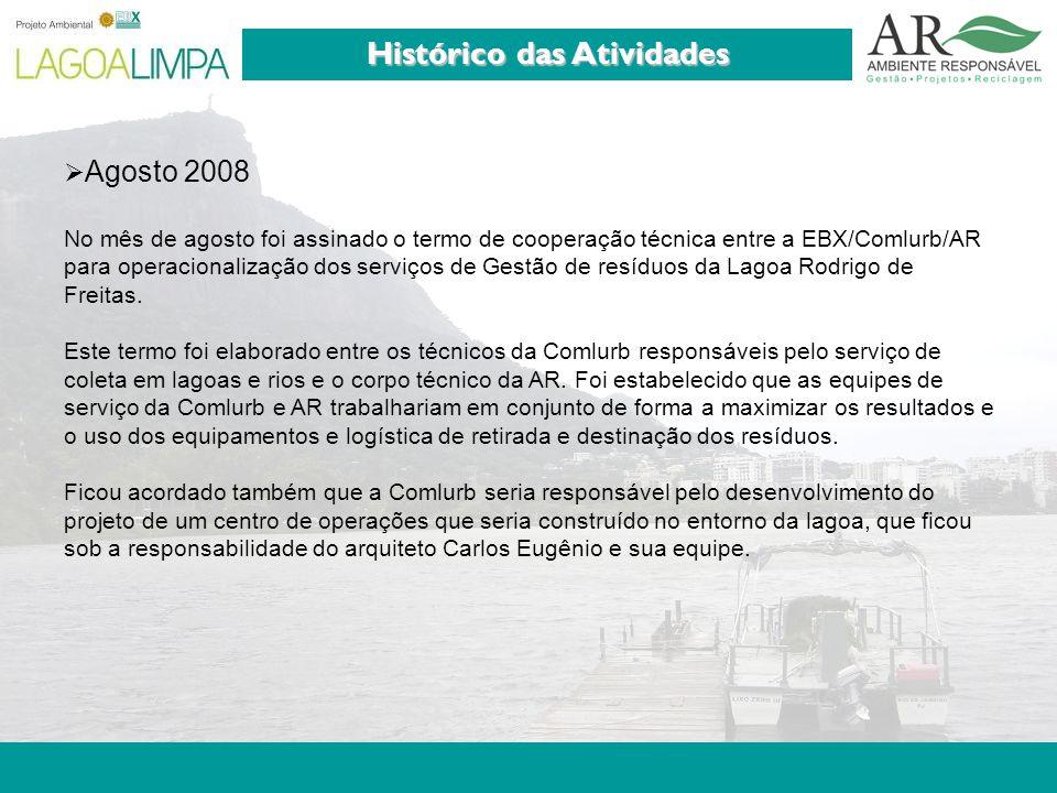 Pag. 4 Histórico das Atividades  Agosto 2008 No mês de agosto foi assinado o termo de cooperação técnica entre a EBX/Comlurb/AR para operacionalizaçã