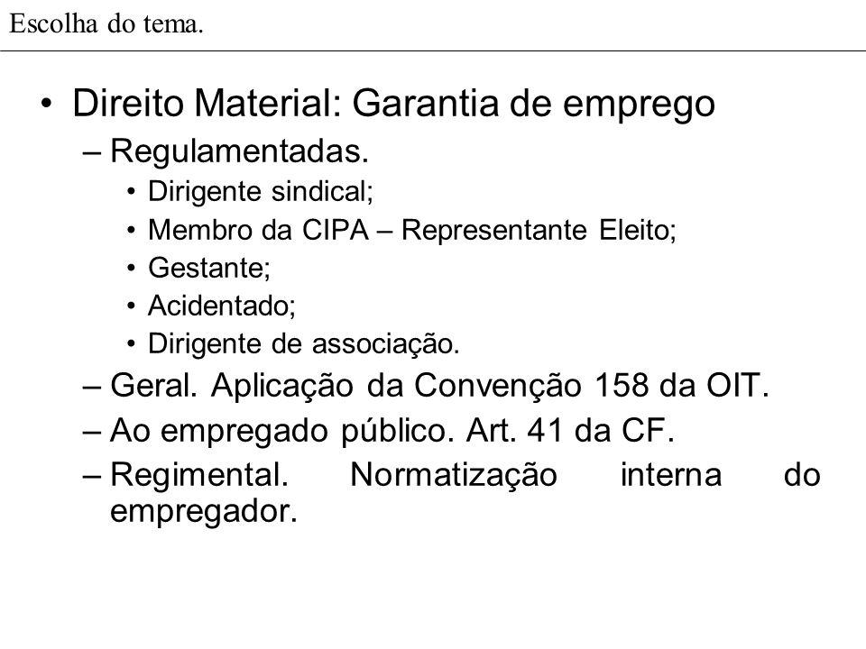 Escolha do tema. Direito Material: Garantia de emprego –Regulamentadas. Dirigente sindical; Membro da CIPA – Representante Eleito; Gestante; Acidentad